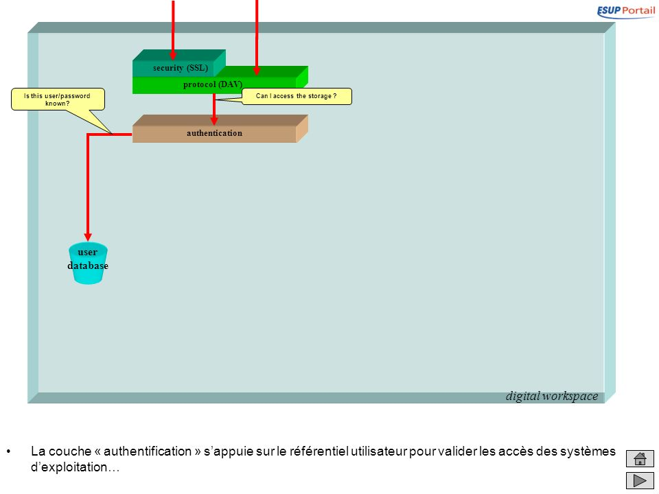 digital workspace La couche « authentification » sappuie sur le référentiel utilisateur pour valider les accès des systèmes dexploitation… user databa