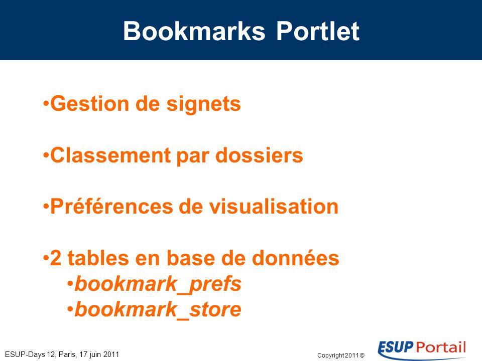Copyright 2011 © Bookmarks Portlet Gestion de signets Classement par dossiers Préférences de visualisation 2 tables en base de données bookmark_prefs bookmark_store ESUP-Days 12, Paris, 17 juin 2011