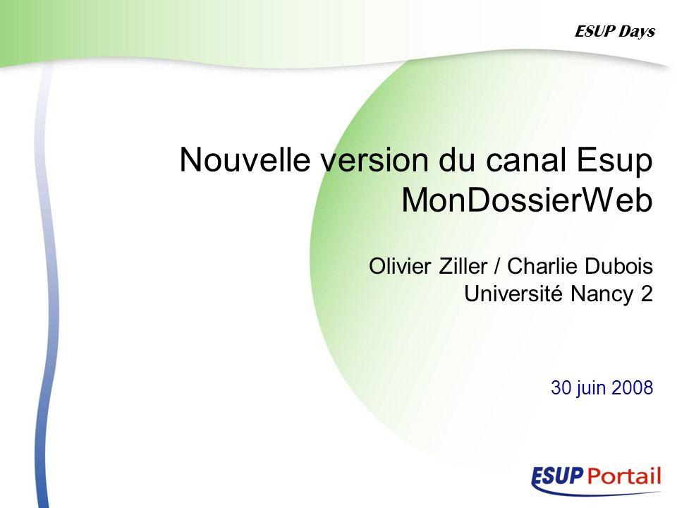 Nouvelle version du canal Esup MonDossierWeb Olivier Ziller / Charlie Dubois Université Nancy 2 30 juin 2008 ESUP Days