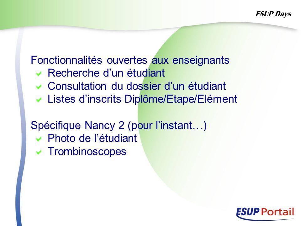 Fonctionnalités ouvertes aux enseignants Recherche dun étudiant Consultation du dossier dun étudiant Listes dinscrits Diplôme/Etape/Elément Spécifique