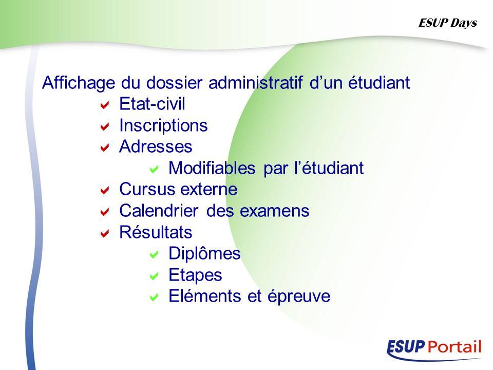 Affichage du dossier administratif dun étudiant Etat-civil Inscriptions Adresses Modifiables par létudiant Cursus externe Calendrier des examens Résul