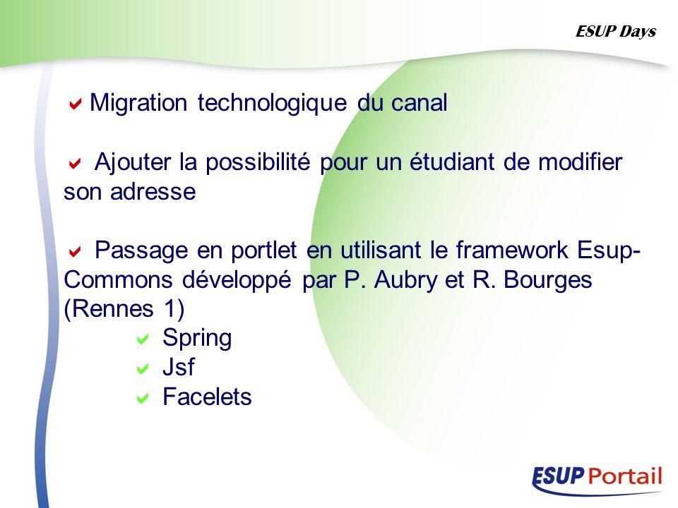 Migration technologique du canal Ajouter la possibilité pour un étudiant de modifier son adresse Passage en portlet en utilisant le framework Esup- Co