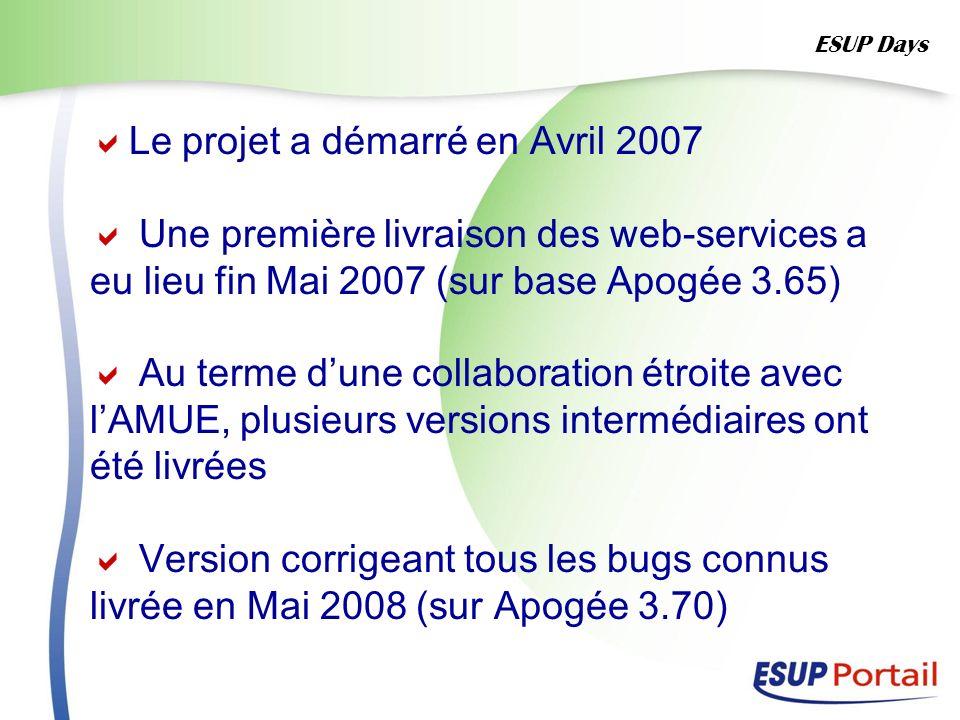 Le projet a démarré en Avril 2007 Une première livraison des web-services a eu lieu fin Mai 2007 (sur base Apogée 3.65) Au terme dune collaboration ét