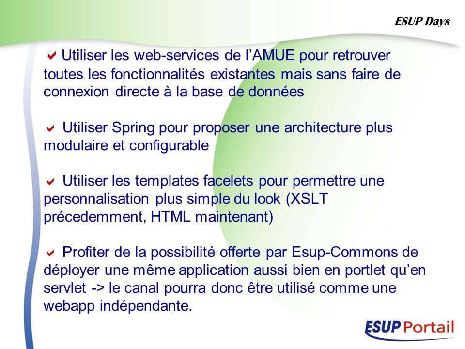 Utiliser les web-services de lAMUE pour retrouver toutes les fonctionnalités existantes mais sans faire de connexion directe à la base de données Util