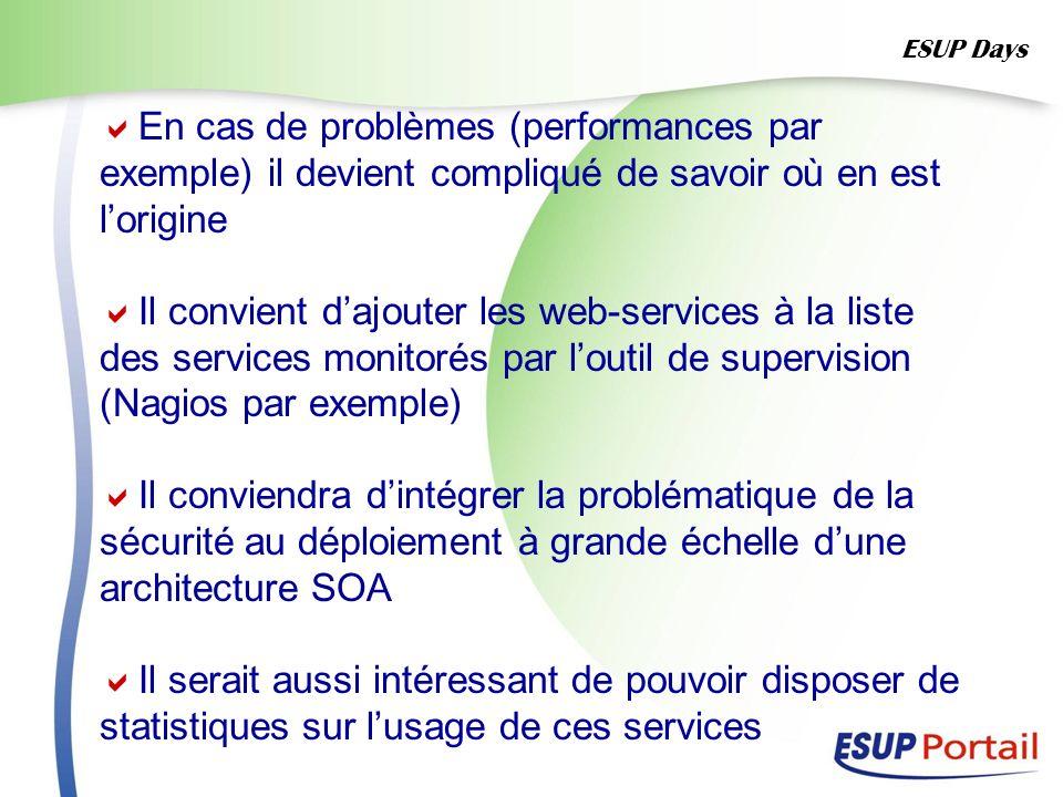 En cas de problèmes (performances par exemple) il devient compliqué de savoir où en est lorigine Il convient dajouter les web-services à la liste des