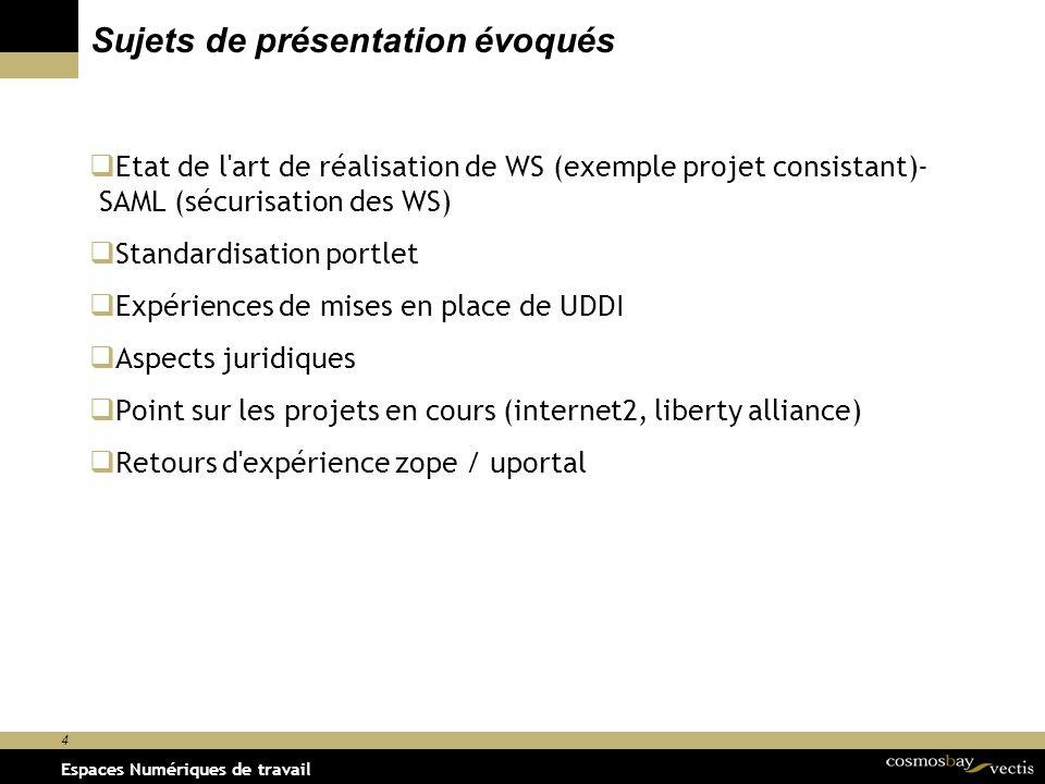 Espaces Numériques de travail le 29/11/2001 4 Espaces Numériques de travail Sujets de présentation évoqués Etat de l art de réalisation de WS (exemple projet consistant)- SAML (sécurisation des WS) Standardisation portlet Expériences de mises en place de UDDI Aspects juridiques Point sur les projets en cours (internet2, liberty alliance) Retours d expérience zope / uportal