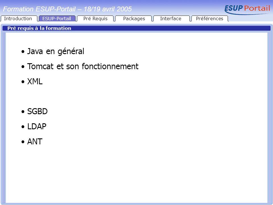 IntroductionESUP-PortailPré RequisPackages Pré requis à la formation Java en général Tomcat et son fonctionnement XML SGBD LDAP ANT Formation ESUP-Por