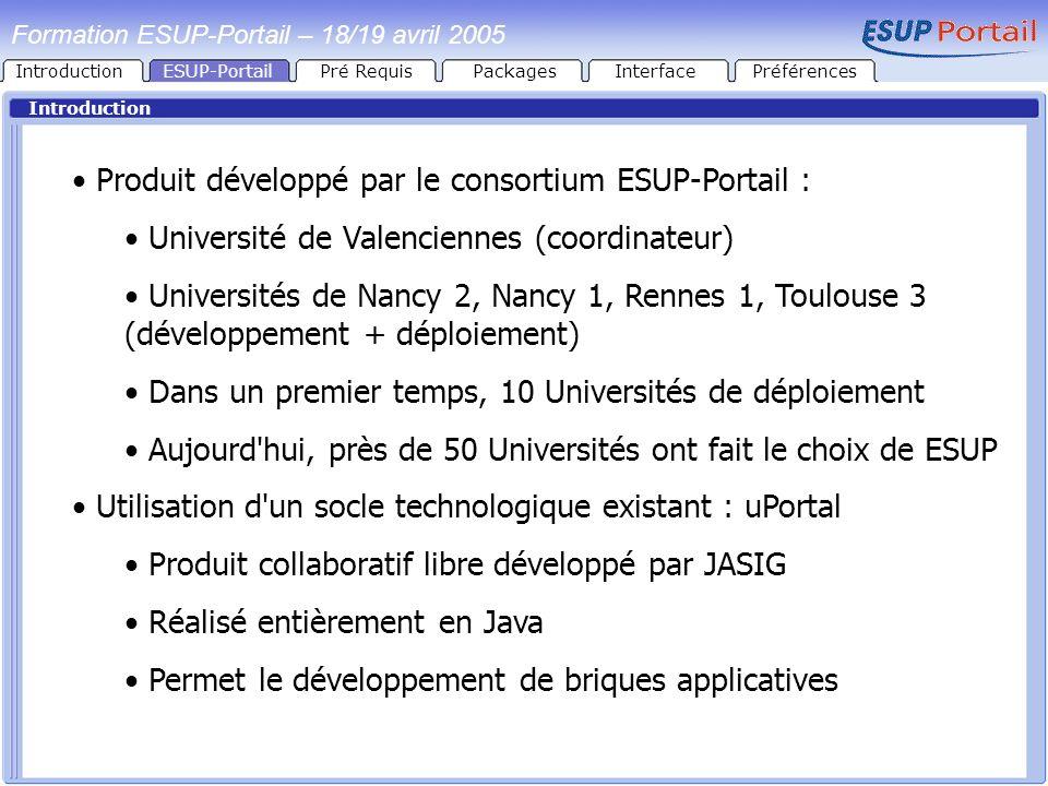 IntroductionESUP-PortailPré RequisPackages Introduction Formation ESUP-Portail – 18/19 avril 2005 InterfacePréférences Produit développé par le consor