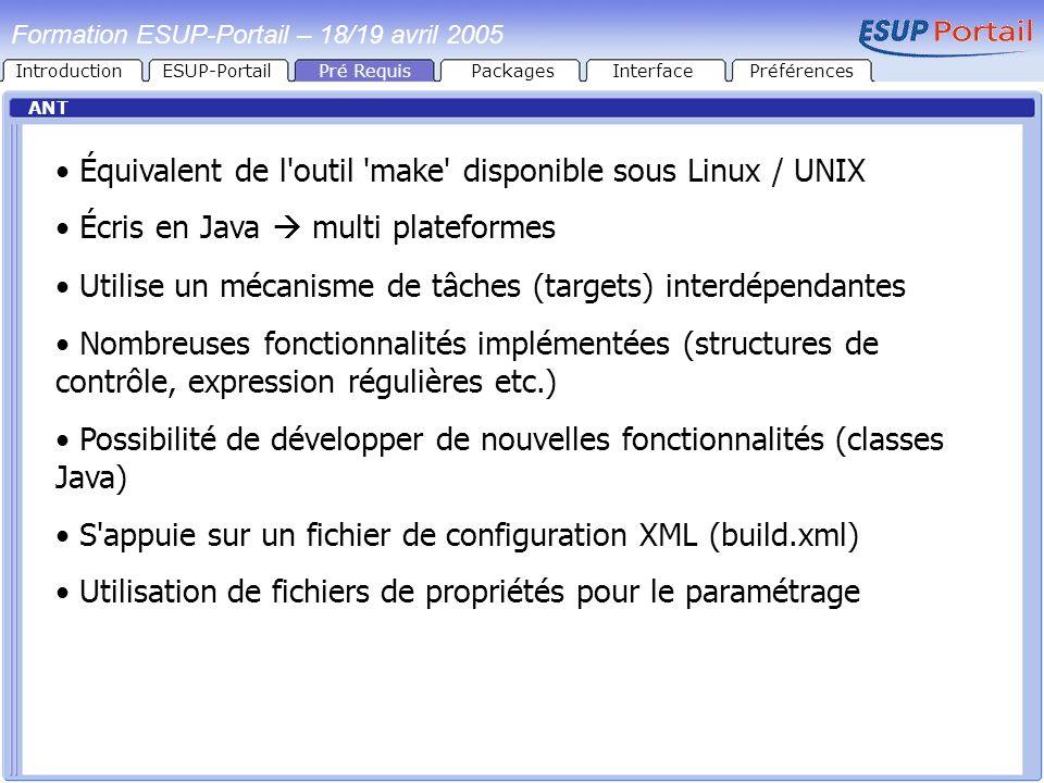 IntroductionESUP-PortailPré RequisPackages ANT Équivalent de l'outil 'make' disponible sous Linux / UNIX Écris en Java multi plateformes Utilise un mé