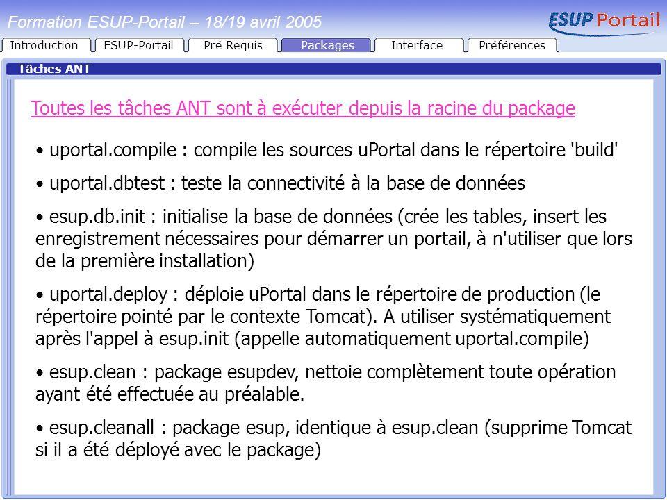 IntroductionESUP-PortailPré RequisPackages Tâches ANT Toutes les tâches ANT sont à exécuter depuis la racine du package uportal.compile : compile les