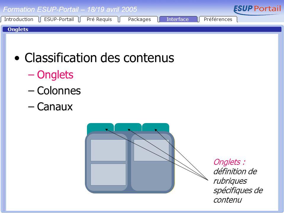 Formation ESUP-Portail – 18/19 avril 2005 Onglets Classification des contenus –Onglets –Colonnes –Canaux Onglets : définition de rubriques spécifiques