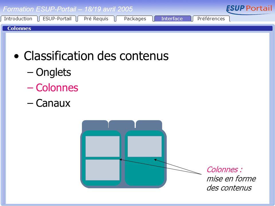 Formation ESUP-Portail – 18/19 avril 2005 Colonnes Classification des contenus –Onglets –Colonnes –Canaux Colonnes : mise en forme des contenus Introd