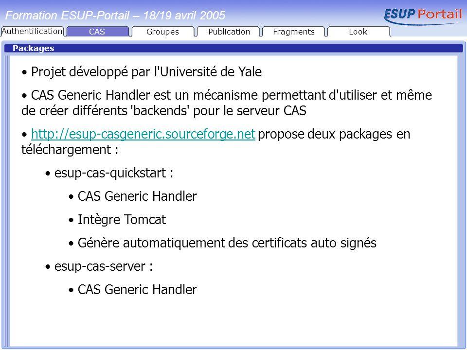 Packages Formation ESUP-Portail – 18/19 avril 2005 Projet développé par l'Université de Yale CAS Generic Handler est un mécanisme permettant d'utilise