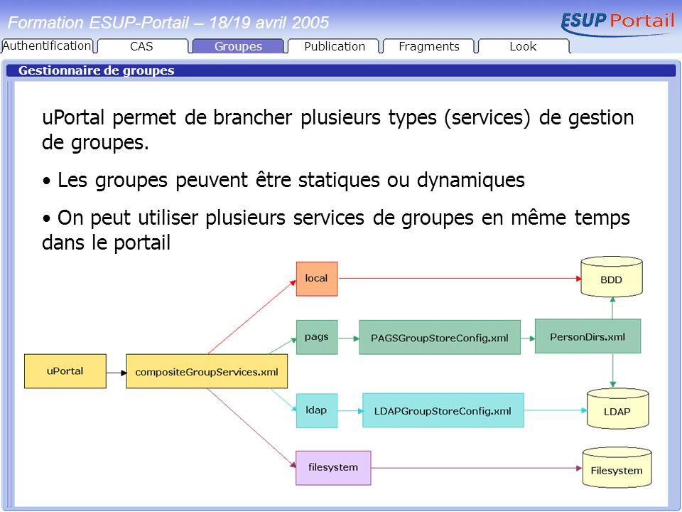 Groupes Formation ESUP-Portail – 18/19 avril 2005 Gestionnaire de groupes uPortal permet de brancher plusieurs types (services) de gestion de groupes.