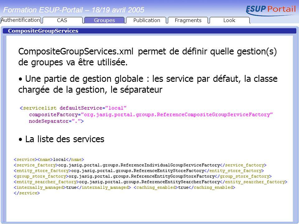 Formation ESUP-Portail – 18/19 avril 2005 CompositeGroupServices CompositeGroupServices.xml permet de définir quelle gestion(s) de groupes va être uti