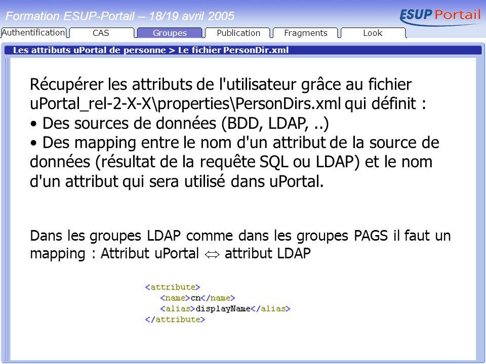 Formation ESUP-Portail – 18/19 avril 2005 Les attributs uPortal de personne > Le fichier PersonDir.xml Récupérer les attributs de l'utilisateur grâce