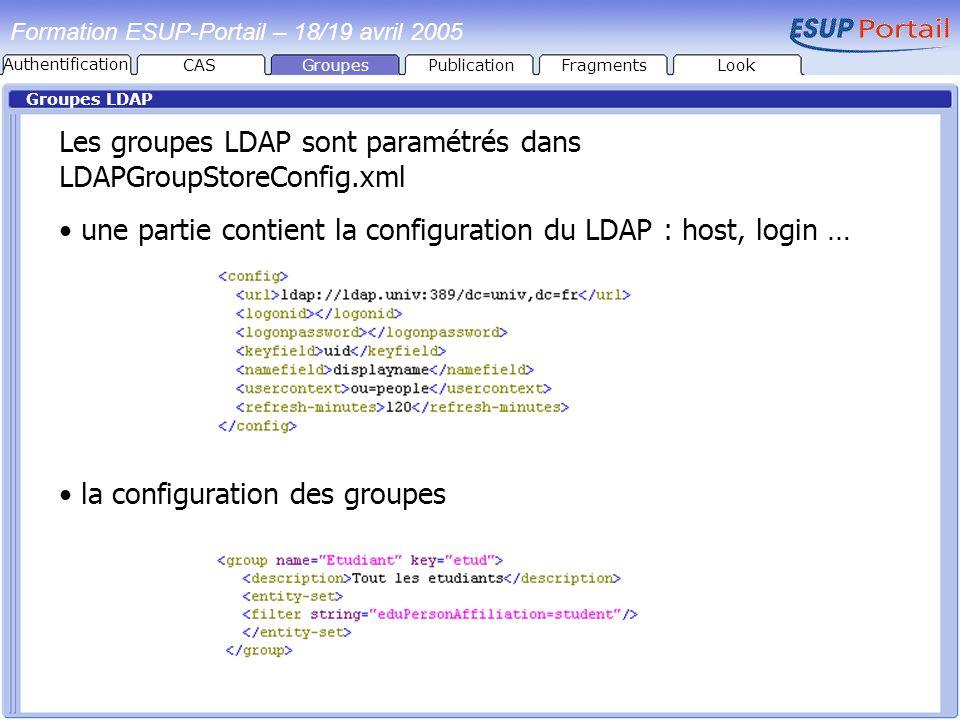 Formation ESUP-Portail – 18/19 avril 2005 Groupes LDAP Les groupes LDAP sont paramétrés dans LDAPGroupStoreConfig.xml une partie contient la configura