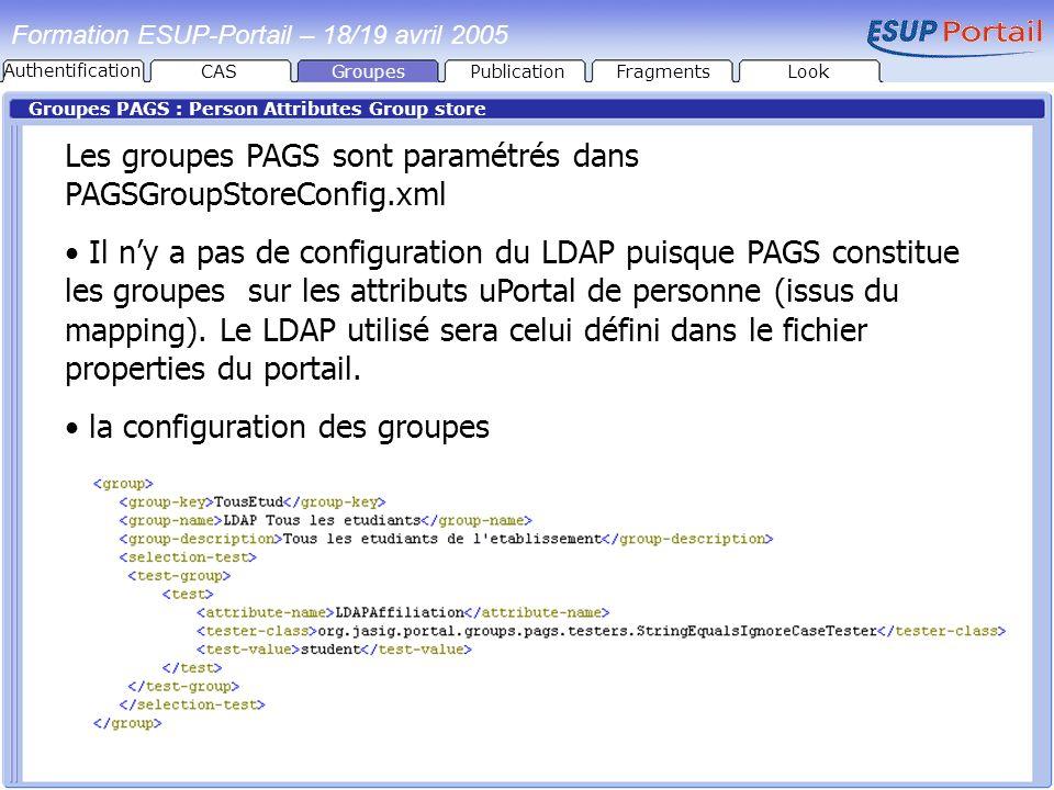 Formation ESUP-Portail – 18/19 avril 2005 Groupes PAGS : Person Attributes Group store Les groupes PAGS sont paramétrés dans PAGSGroupStoreConfig.xml