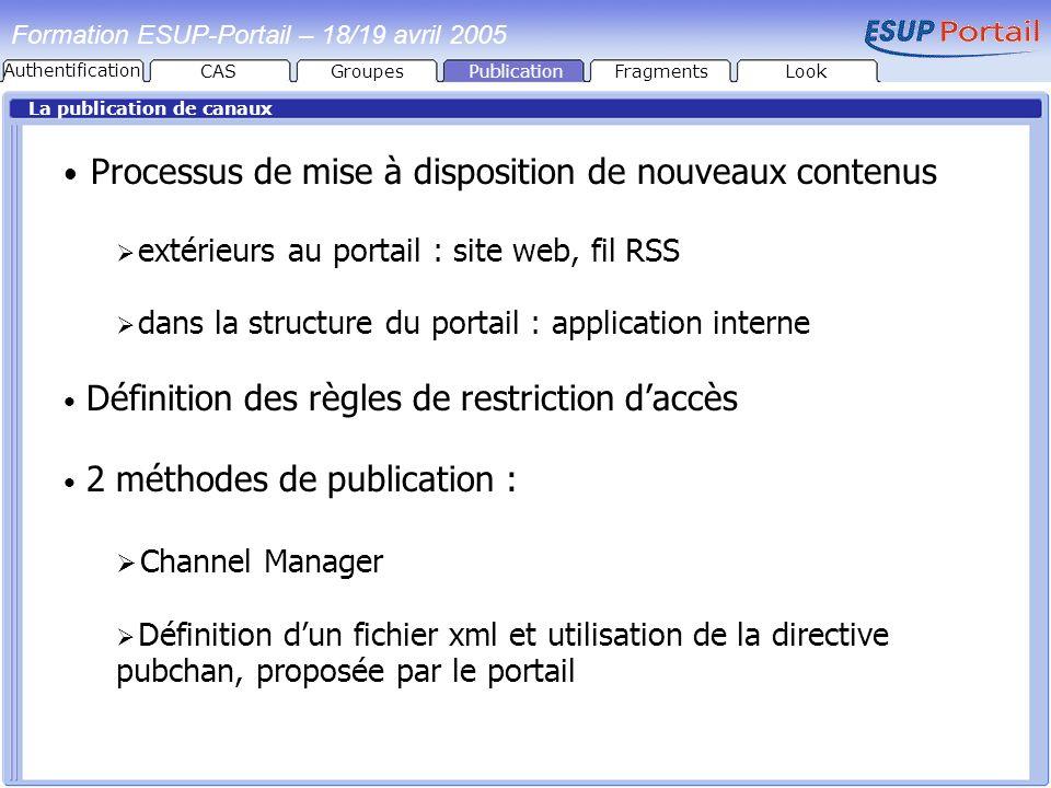 PublicationFragmentsLook Formation ESUP-Portail – 18/19 avril 2005 La publication de canaux Processus de mise à disposition de nouveaux contenus extér