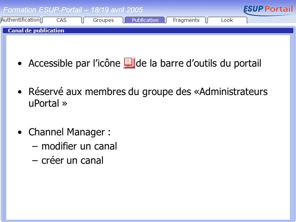 PublicationFragmentsLook Formation ESUP-Portail – 18/19 avril 2005 Canal de publication Accessible par licône de la barre doutils du portail Réservé a