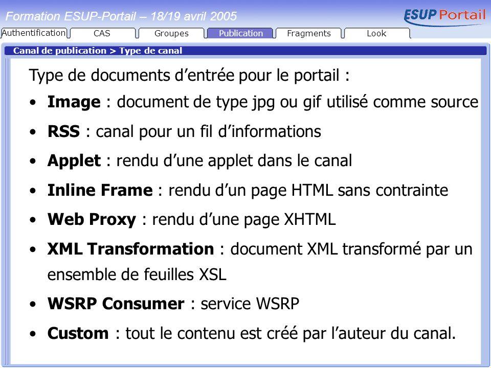 PublicationFragmentsLook Formation ESUP-Portail – 18/19 avril 2005 Canal de publication > Type de canal Type de documents dentrée pour le portail : Im