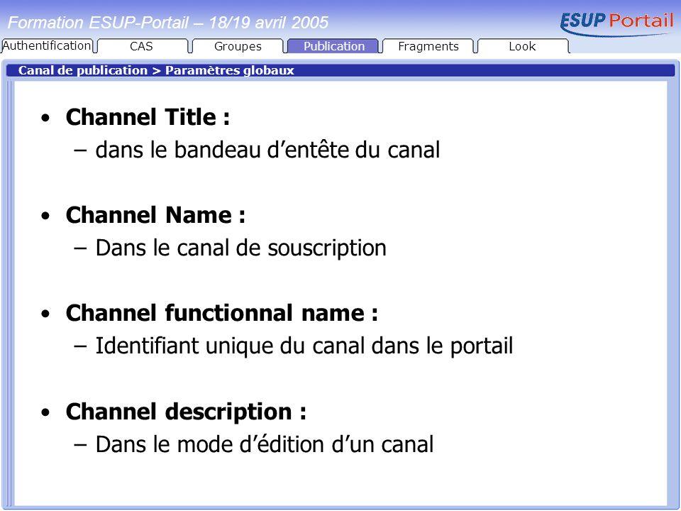 PublicationFragmentsLook Formation ESUP-Portail – 18/19 avril 2005 Canal de publication > Paramètres globaux Channel Title : –dans le bandeau dentête