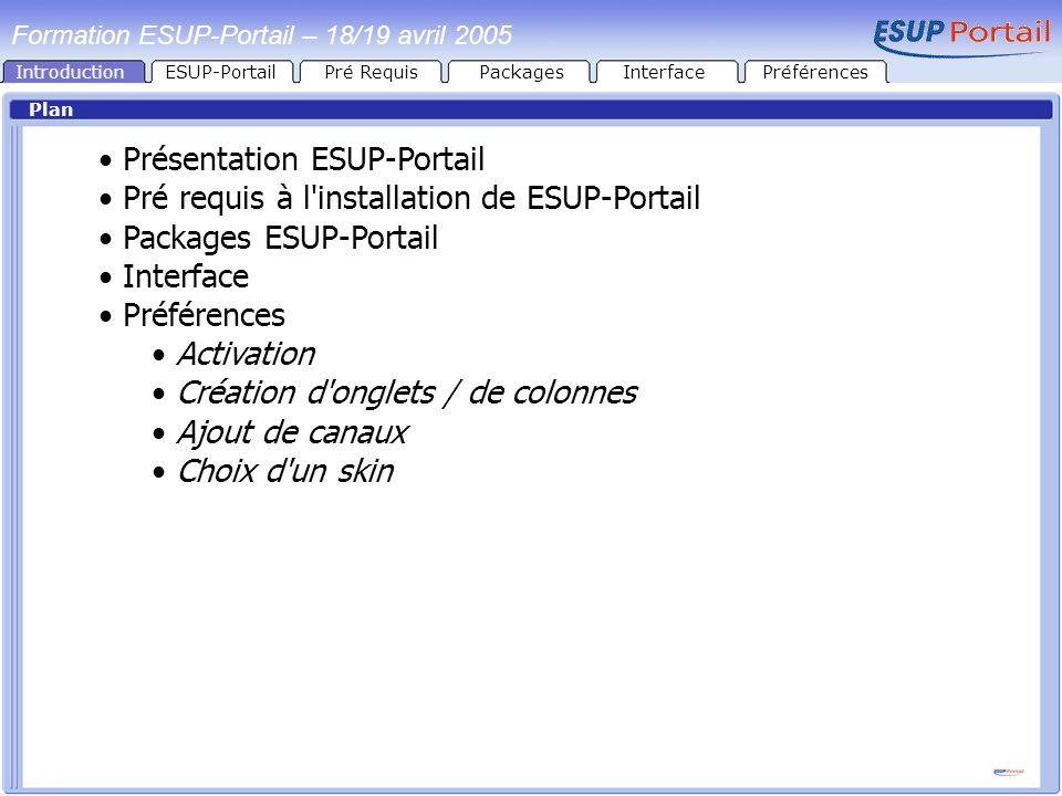 IntroductionESUP-PortailPré RequisPackages Plan Présentation ESUP-Portail Pré requis à l'installation de ESUP-Portail Packages ESUP-Portail Interface