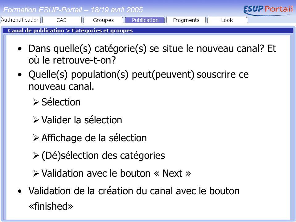 PublicationFragmentsLook Formation ESUP-Portail – 18/19 avril 2005 Canal de publication > Catégories et groupes Dans quelle(s) catégorie(s) se situe l