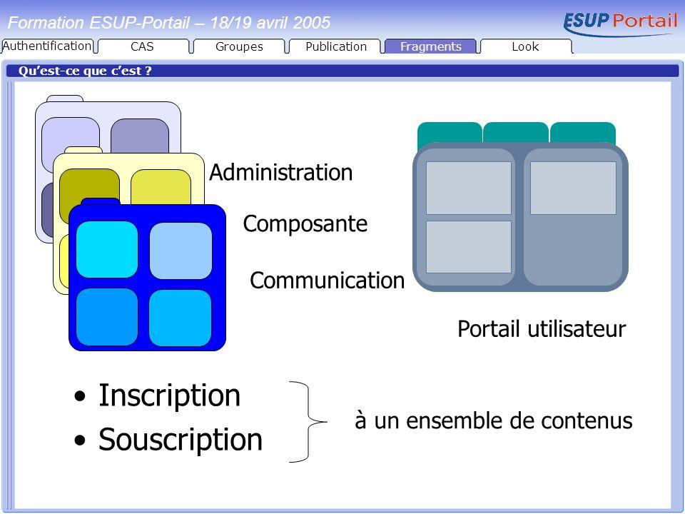 PublicationFragmentsLook Formation ESUP-Portail – 18/19 avril 2005 Quest-ce que cest ? Inscription Souscription Portail utilisateur Administration Com