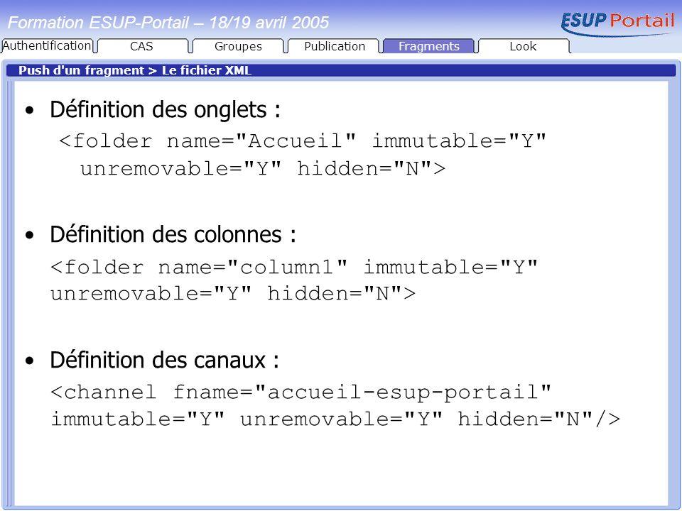 PublicationFragmentsLook Formation ESUP-Portail – 18/19 avril 2005 Push d'un fragment > Le fichier XML Définition des onglets : Définition des colonne