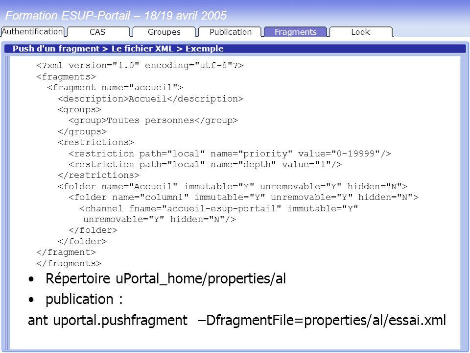 PublicationFragmentsLook Formation ESUP-Portail – 18/19 avril 2005 Push d'un fragment > Le fichier XML > Exemple Répertoire uPortal_home/properties/al