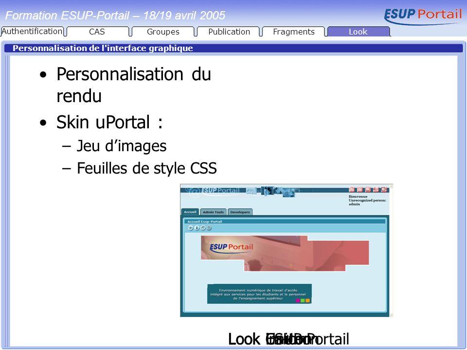 PublicationFragmentsLook Formation ESUP-Portail – 18/19 avril 2005 Personnalisation de l'interface graphique Look im+m Personnalisation du rendu Skin