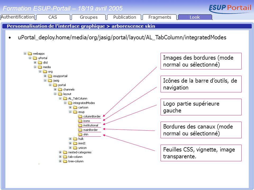 PublicationFragmentsLook Formation ESUP-Portail – 18/19 avril 2005 Personnalisation de l'interface graphique > arborescence skin uPortal_deploy.home/m