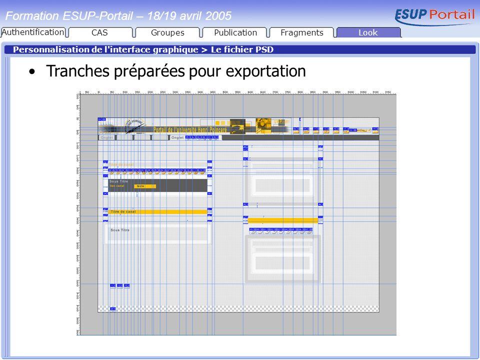 PublicationFragmentsLook Formation ESUP-Portail – 18/19 avril 2005 Personnalisation de l'interface graphique > Le fichier PSD Tranches préparées pour