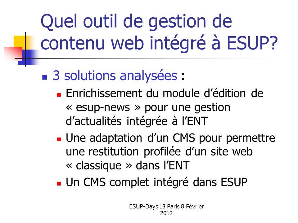 ESUP-Days 13 Paris 8 Février 2012 Quel outil de gestion de contenu web intégré à ESUP? 3 solutions analysées : Enrichissement du module dédition de «