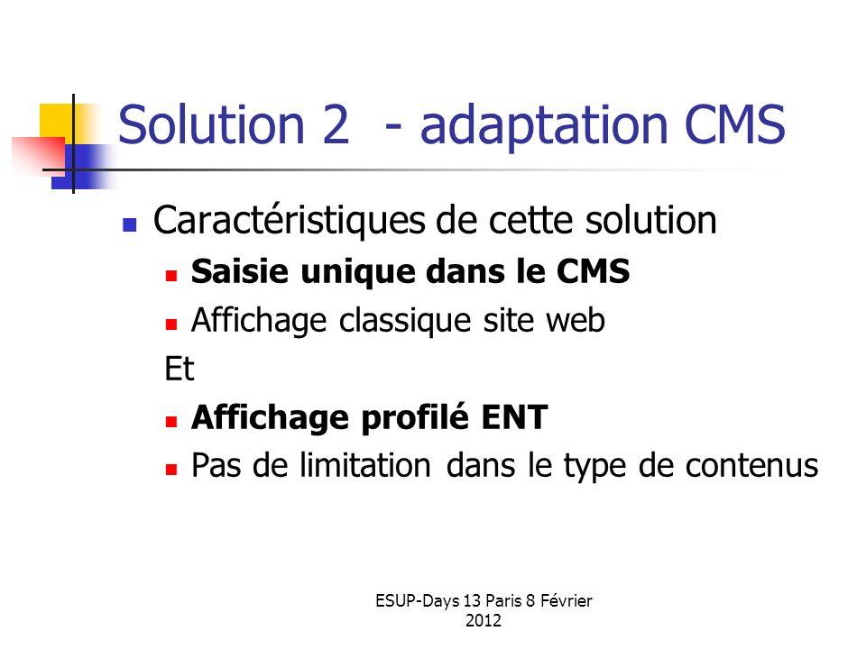 ESUP-Days 13 Paris 8 Février 2012 Solution 2 - adaptation CMS Caractéristiques de cette solution Saisie unique dans le CMS Affichage classique site we
