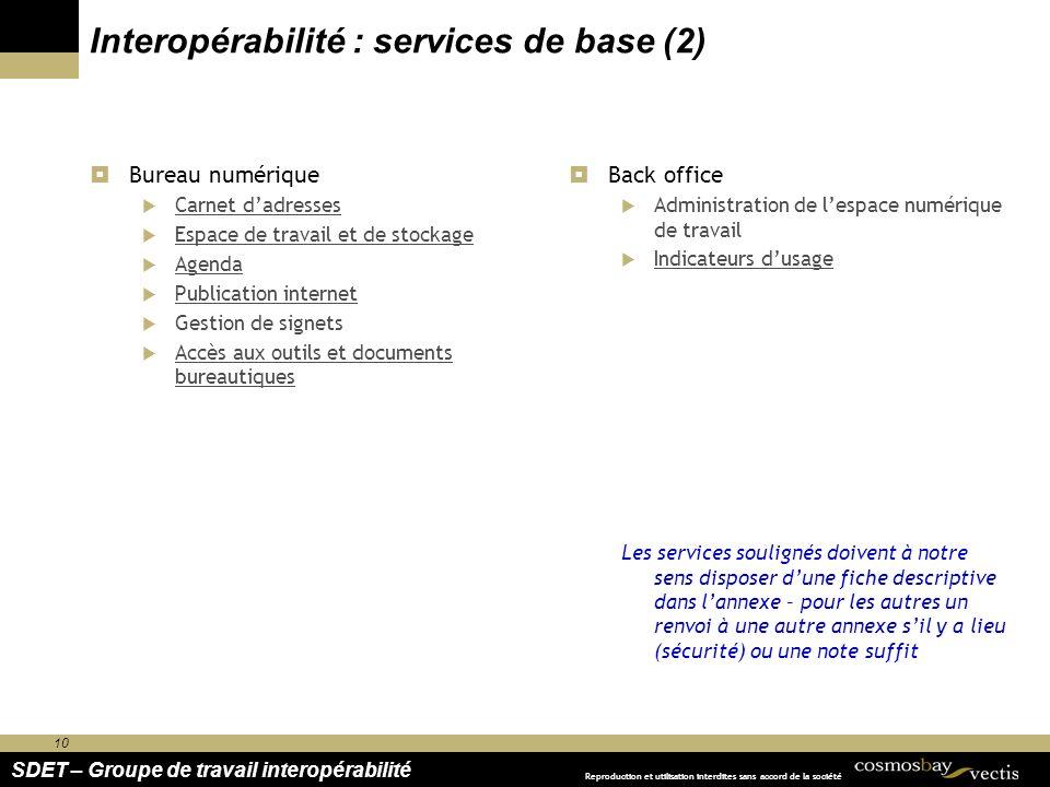 10 SDET – Groupe de travail interopérabilité Reproduction et utilisation interdites sans accord de la société Interopérabilité : services de base (2)