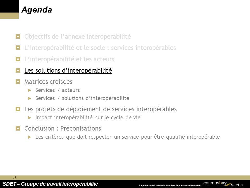 17 SDET – Groupe de travail interopérabilité Reproduction et utilisation interdites sans accord de la société Agenda Objectifs de lannexe interopérabi