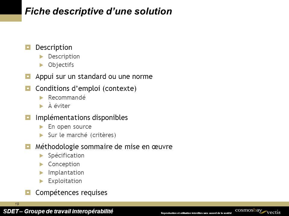 19 SDET – Groupe de travail interopérabilité Reproduction et utilisation interdites sans accord de la société Fiche descriptive dune solution Descript