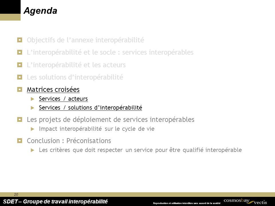 20 SDET – Groupe de travail interopérabilité Reproduction et utilisation interdites sans accord de la société Agenda Objectifs de lannexe interopérabi