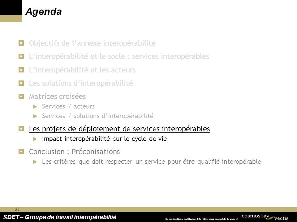 21 SDET – Groupe de travail interopérabilité Reproduction et utilisation interdites sans accord de la société Agenda Objectifs de lannexe interopérabi