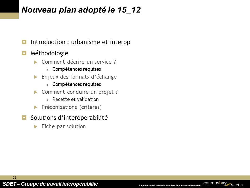 23 SDET – Groupe de travail interopérabilité Reproduction et utilisation interdites sans accord de la société Nouveau plan adopté le 15_12 Introductio