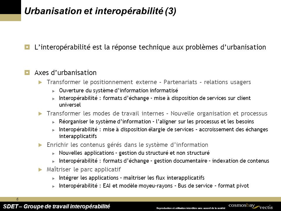 6 SDET – Groupe de travail interopérabilité Reproduction et utilisation interdites sans accord de la société Urbanisation et interopérabilité (3) Lint