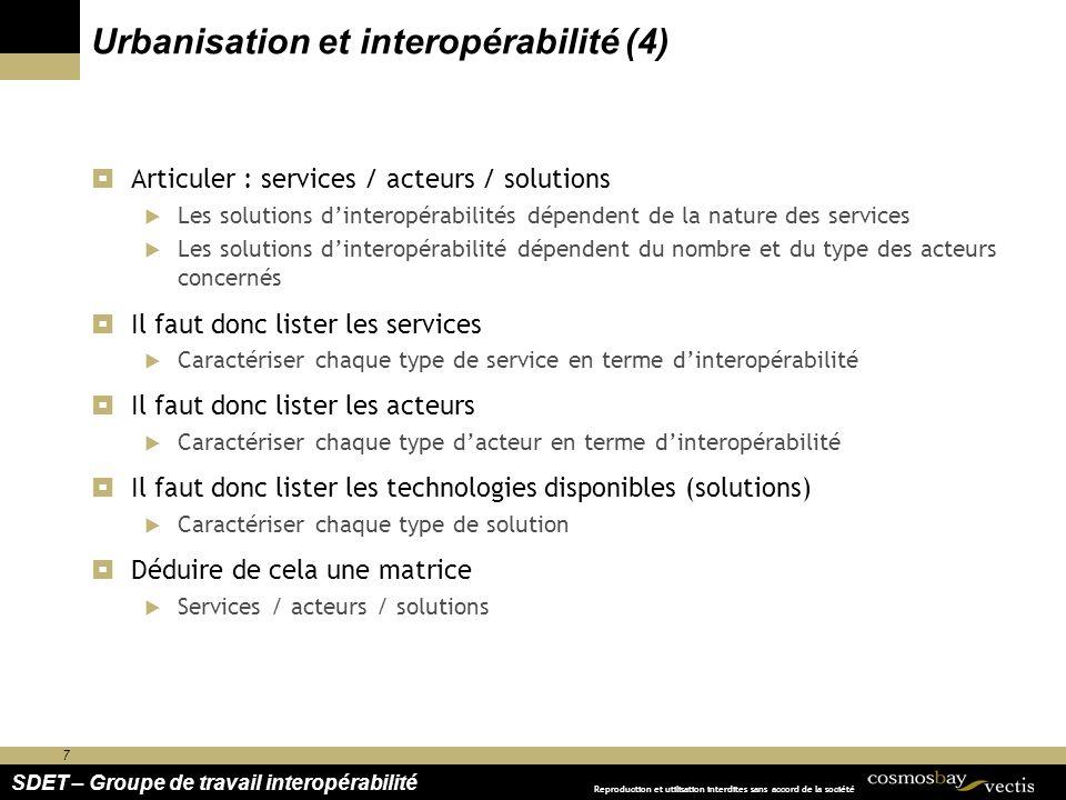 7 SDET – Groupe de travail interopérabilité Reproduction et utilisation interdites sans accord de la société Urbanisation et interopérabilité (4) Arti