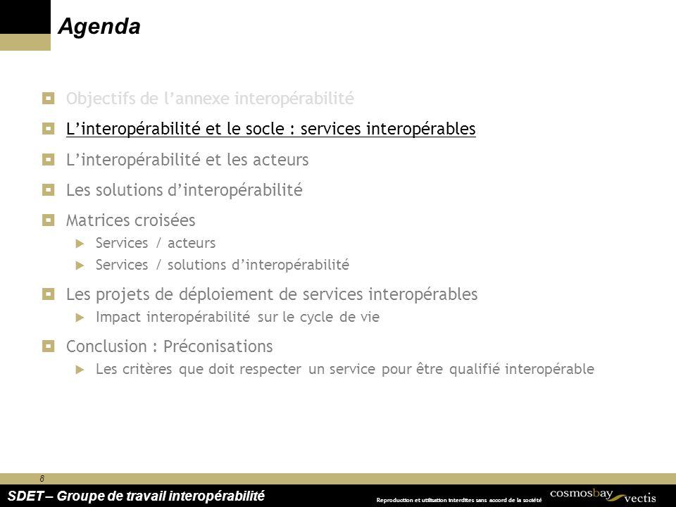 8 SDET – Groupe de travail interopérabilité Reproduction et utilisation interdites sans accord de la société Agenda Objectifs de lannexe interopérabil