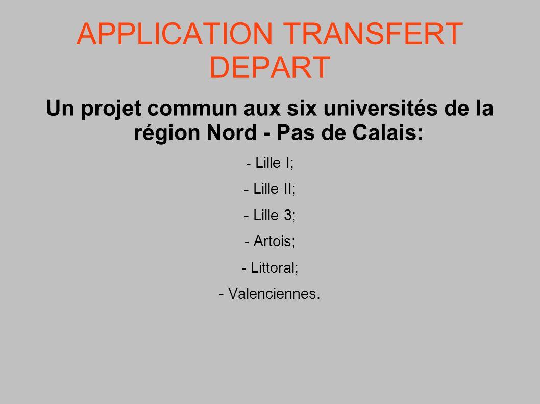 APPLICATION TRANSFERT DEPART Un projet commun aux six universités de la région Nord - Pas de Calais: - Lille I; - Lille II; - Lille 3; - Artois; - Lit