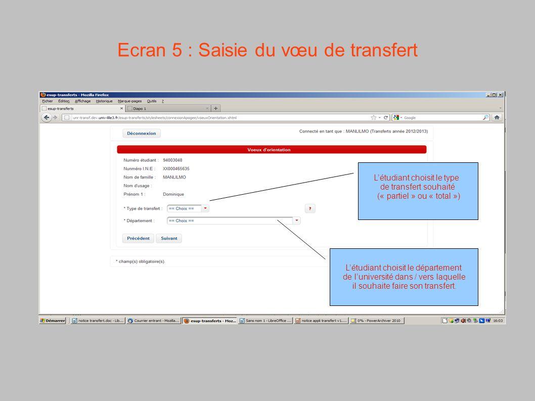 Ecran 5 : Saisie du vœu de transfert Létudiant choisit le type de transfert souhaité (« partiel » ou « total ») Létudiant choisit le département de lu