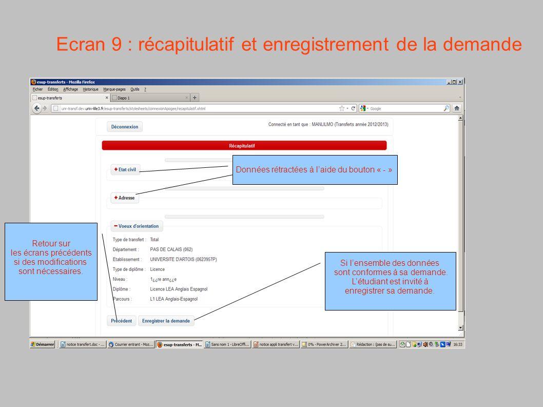 Ecran 9 : récapitulatif et enregistrement de la demande Données rétractées à laide du bouton « - » Si lensemble des données sont conformes à sa demand