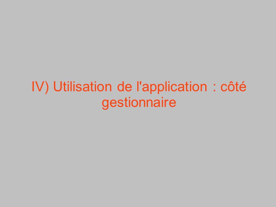 IV) Utilisation de l'application : côté gestionnaire