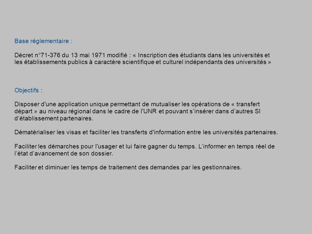 Base réglementaire : Décret n°71-376 du 13 mai 1971 modifié : « Inscription des étudiants dans les universités et les établissements publics à caractè